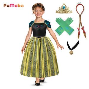 Pamaba Kızlar Klasik Prenses Anna Kostüm Partisi Elbise Çocuklar Yaz Frocks Çocuk Cadılar Bayramı Cosplay Anna Coronation Elbise Kıyafeti J190520