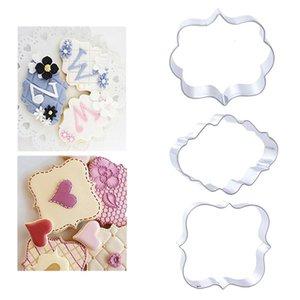 1 Seti (3 adet) Şeker Bisküvi Kalıp 3PCS Plak Kesici Tanımlama Çerçeve DIY Kek Oval kare Dikdörtgen Fantezi Paslanmaz çerez Kalıp Diğer bakeware