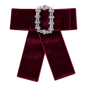 Rhinetone neckwear Accessories Brooch pin exaggerated bow tie Diamond square brooch Bohemian style DIY Shirt Brooch Jewelry