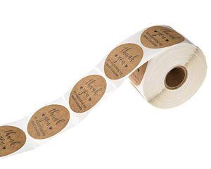 2020 Kraft Paper Теги Спасибо за поддержку моего малого бизнеса наклейки Печать этикетки DIY Рождественский подарок украшения наклейки 500pcs