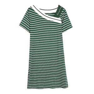 Plus Size Womens Short Sleeve Striped Party V- Neck Bodycon Beach T-shirt Dress Elegant Beach Holiday Party Slim Ladies Dresses
