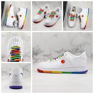 NIKE Nuovo arrivo 1 1s 07 suola cuscino taglio basso arcobaleno bianco designer scarpe casual piattaforma traspirante uomini scarpe da donna