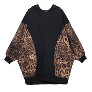 Las mujeres otoño invierno leopardo Hoodies ocasional del bolsillo de la camiseta de la manga del Batwing suelta de manga larga con capucha Mujer