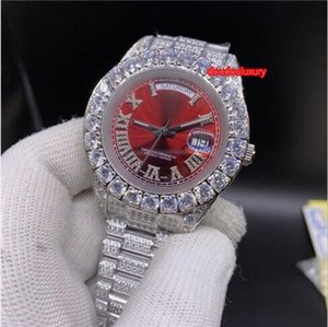 Argent Diamond Watch Set Prong Diamond Bezel hommes Échelle diamant romain Mode Hot Vente Montre Top Boutique Montre automatique