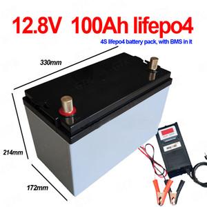 lifepo4 impermeabile 12.8V 12v 100ah al litio batteria BMS 4S per l'alimentazione di backup RV 1200W inverter dell'UPS EV golf cart + 10A caricabatterie