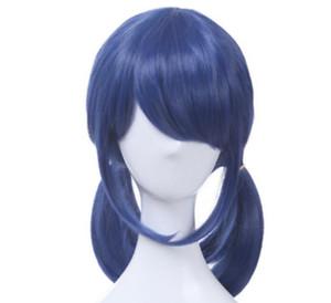 Livraison gratuiteNew Hot Fashion Anime Lady bug Bleu foncé 2 Ponytails Cheveux Raides Cosplay Perruque