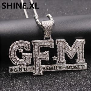 Hip Hop ha ghiacciato fuori la collana del pendente Famiglia di Dio Denaro cubico zircone oro placcato argento con la corda catena