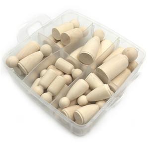 30pcs sólido duro Madera de diverso tamaño natural sin terminar Rampa preparación de la pintura o teñido de madera madera de la familia Peg muñecas juguetes para el cabrito