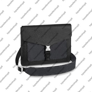M30413 Men Outdoor Flap Messenger Bag Slim bourse en ligne de conception Eclipse Noir Blanc Enveloppe de style Flap Véritable Besace Sac en cuir