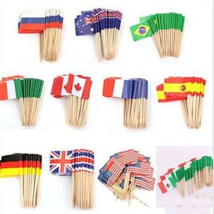 Nouveau design Mini drapeaux de papier alimentaire Picks Toothpicks Royaume-Uni Australie Drapeau américain Cupcake Décoration Fruit Cocktail Sticks Jolie Party
