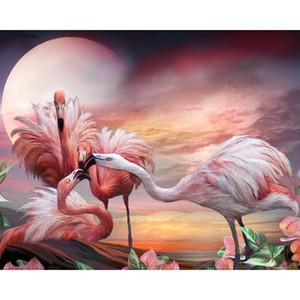 Quatro Flamingos 5d Diy Completa Pintura Diamante Cross Stitch Kit Diamante Bordado Moda Home Decor Angel Mosaico Imagem 20X25 CM Presente