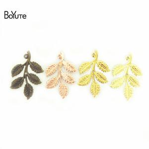 BoYuTe (50 pièces / lot) 32 * 50MM Diy main Métal Laiton Fèves estampage pendentif feuille pour la prise de bijoux