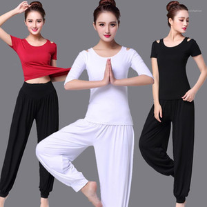 Two Piece Suit das mulheres cor sólida Academia Suit Yoga casual solta de manga curta Calças Sports