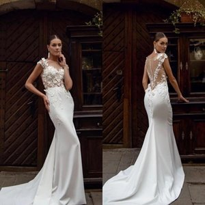 Sexy Mermaid Wedding Dresses Jewel Neck Satin 3D Floral Applique Sweep Train See Through Wedding Dress Bridal Gowns Vestidos De Novia