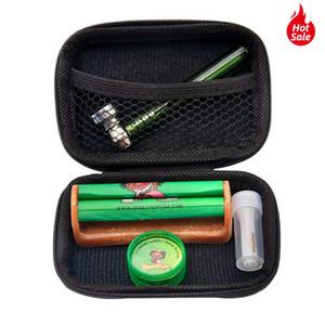 Tabak Kit Glas Rauchpfeifen Für Herb + Plastic Tabak-Kraut-Schleifer + classic Größe Acryl Rollmaschine + Glass Mouth Filter Tip