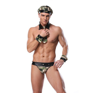 Sexy Male Exotic Costume Soldado Traje Homens Lingerie Halloween Cosplay Camouflage Terno Uniforme sexy com Camo Hat