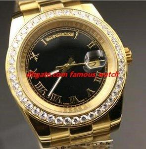 Multi-Link стиль Мужчины наручные часы 118348 118388 Алмазный диск 40мм 18k золото Браслет стали Дата Автоматическая Мужские часы Бесплатная доставка