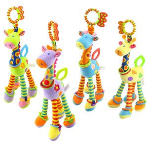 Infant toys baby development plush giraffe animal rattle rattle handle toy baby car hanging teether baby toy supplies