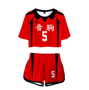 Anime Haikyuu Cosplay Costume Nekoma High School Volleyball Club Kozume Kenma Kuroo Tetsurou Two Piece Set Women Tops and Shorts