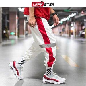 LAPPSTER Men Streetwear Reflective Joggers Pants 2020 Man Korean Fashion Hip Hop Sweatpants Couple Side Striped Trousers 5XL CX200605
