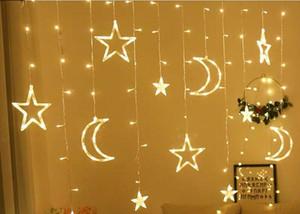 3.5 М Moon Star Led Занавес Строка Огни Рождественская Фея Гирлянды Праздничные Огни Для Свадьбы Украшения Рождество Рождественская Гирлянда Свет