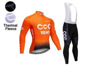 2021 зимняя команда New CCC Thermal Flece Cycling Jersey Bike Bike Bike Set Mens 9D Pads Ropa Ciclismo Cycling Widing Maillot Culotte