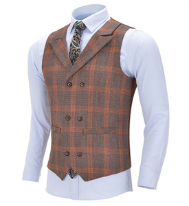 Mens Business Navy Men's Outerwear & Coats Men's Clothing Wool Plaid Singlebreasted Cotton Suit Vest Waistcoat For Wedding Formal Vest Groom