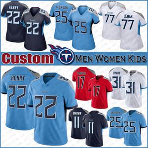22 Derrick Henry Tennessee Uomo-Donna Bambino Titan del calcio Jersey 31 Kevin Byard 17 Ryan Tannehill 77 Taylor Lewan 25 maglie Jackson