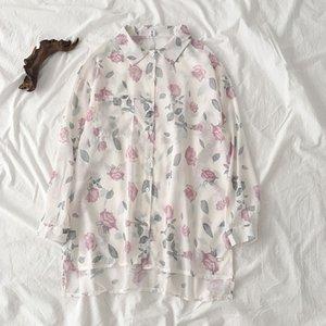 Gaganight Çiçek Kadınlar şifon Bluz Uzun Kollu Aşağı Yaka İnce Yaz Lady Gömlek Moda Vintage blusas Koreli Gömlek çevirin