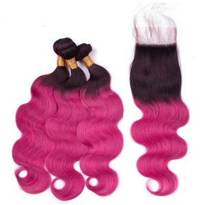 Silanda Hair Ombre Color Colored #T 1B Rose Red Body Wave Remy Human Hair Weaving Bundles With 4X4 Lace Closure Free Shipping