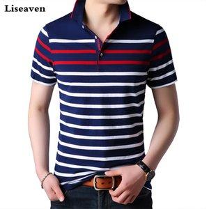 Liseaven Hombres camiseta de manga corta a rayas s camisa masculina TopsTees Marca Ropa de Hombre Camisas
