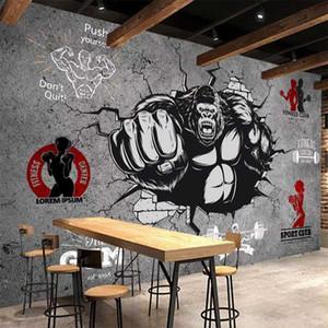 Личность Drop Shipping Творческий Фитнес Культурист Gorilla 3D Обоев Рулон Gym 3D Mural Обои Домашнее украшение