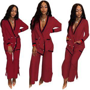Suits Blazers Pantolon eşofman Tek Breasted Uzun Pantolon Suits Kadınlar Moda 2adet Tops