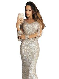 Fast sell through wish Amazon Womens wear Europe and America cross border long dress evening dress long sleeve tassel dinner