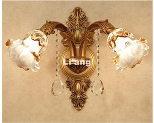 Европейский кристалл настенные светильники 1/2 огни Золотой цвет Vintage Бра Light E14 LED кристалл Настенный кронштейн Bra кровать Бра Домашнее украшение