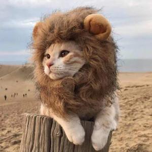 Köpekler Kediler Evcil Cadılar Bayramı Noel Partisi Hediyesi için Kedi Aslan Mane Pet Lion Kostüm Pet Lion Saç Peruk