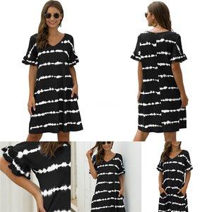 Meia-perna da roupa de forma Três Cores Casual Vestuário Womens Summer Beach Sling Senta Vestidos Contraste Strapless mangas # 673