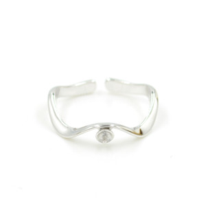 Free Shipping Sterling Silver New Minimalist Curve Fashion Pearl Ring Adjustable Ring Manufacturers Semi Mount Ring Jewelry PS4MJZ053