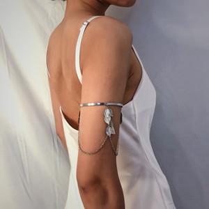 Luxury Jewelry European and American Jewelry Simple and Versatile Street Shot U-Shaped Bracelet Leaves Tassel Chain Geometric Adjustable Arm