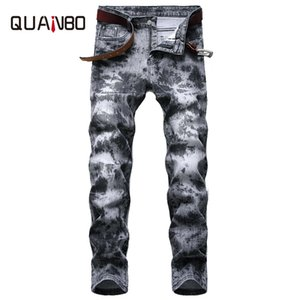 2020 Spring Summer New Retro Stylr Pleated Fashion Stretch Jeans Slim Fit Straight Laser Printing Men's denim jeans 42