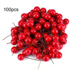 100 Adet Yapay Kırmızı Holly Berry Noel Stamen DIY Ev Bahçe Dekorasyon Noel DIY Dekorasyon Malzemeleri