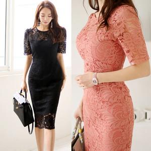 CİNESSD seksi Dantel çanta kalça Parti elbise Bodycon elbise 2019 kadın yaz Kore katı O-boyun kısa kollu Bodycon elbise Vestidos Y200418