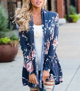 New Fashion Women`s Floral Printed Long Sleeve Knitted Cardigan Coat Casual Ladies Loose Sweater Jacket Outwear