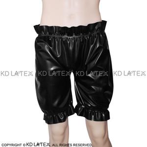 Siyah Seksi Lateks Uzun Bacak Boxer Şort ile gevşekçe Büzgü Dikişi Fetiş Kauçuk Boy Şort Külotlar İç Kölelik Pantolon DK-0053