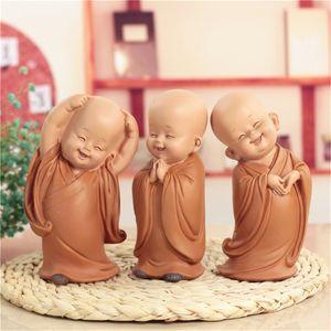 Küçük Monk Heykel Çin Tarzı Reçine Buda Heykeli Ev Dekorasyon Aksesuarları Hediye Heykeli Küçük Buda Heykeli T200619 El Oyma