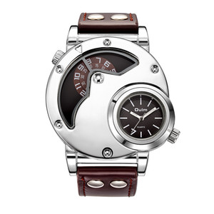 Oulm Silver Case Two Time Zone Watches for Men PU Leather Unique Design Male Wristwatch Men's Watch relogio masculino