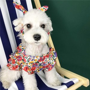 Dog Cereja Princesa bonito Pet Vestido Moda Vestuário Teddy Schnauzer vestido ocasional de rua roupas para cães Floral Bonita roupa Cat
