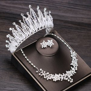 Luxurious Rhinestone Wedding Crown Tiara Pearl Statement Necklace Earrings Bridal Jewelry Sets Wedding African Beads Jewelry Set