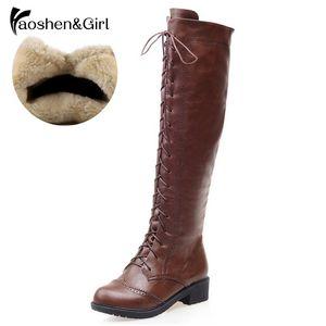 HaoshenGirl Autunno / Inverno Donne Lace up stivali al ginocchio Moto fredda equitazione modo rotondo di avvio di alta qualità Toe Bota Scarpe G122 MX200320