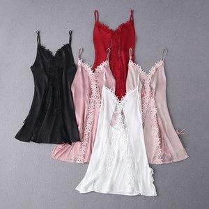 FZSLCYIYI Damen Nachtwäsche Kleid Frauen schnüren Negligée Dtrap tiefer V-Ausschnitt Lingerie Nachthemd Nachthemdchen Kleid Sleep